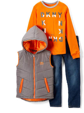 DKNY Charcoal Vest Set - Toddler & Boys