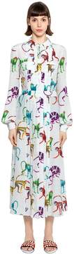 Stella Jean Monkeys Silk Crepe De Chine Shirt Dress