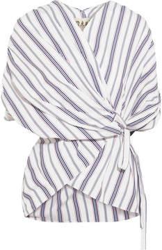 Awake Striped Cotton-poplin Wrap Top - White