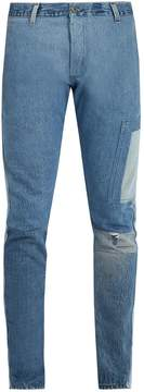 Longjourney Utility slim-leg patchwork jeans
