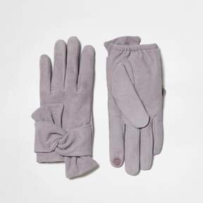 River Island Womens Grey suede bow driving gloves