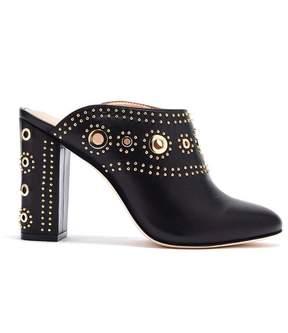 Rachel Zoe | Ramona Eyelet-Embellished Leather Block Heel Mules | 9 us | Black