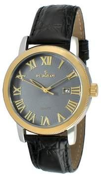 Peugeot Watches Men's Round Leather Strap Calendar Watch - Black
