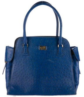 Michael Kors Embossed Leather Handle Tote - BLUE - STYLE