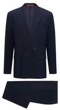 HUGO Boss Wool Cotton Suit, Slim Fit Ulan/Fabo 36S Dark Blue