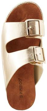 Charlotte Russe Bamboo Metallic Two-Strap Slides