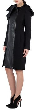 Akris Textured Wool & Lamb Leather Coat, Black