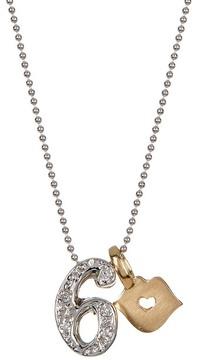 Alex Woo 14K White Gold Little Number '6' Diamond Pendant Necklace - 0.03 ctw