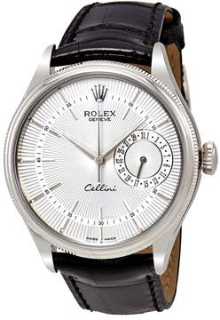 Rolex Cellini Date Silver Dial 18K White Gold Men's Watch