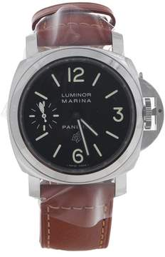 Panerai Luminor Marina PAM01005 Stainless Steel & Brown Leather Black Dial Manual 44mm Men