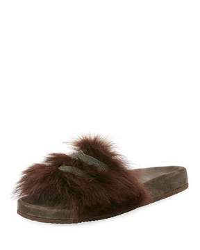 Brunello Cucinelli Monili-Trimmed Flat Fur Slide