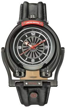 Triton GV2 Gv2 Ipb Case Black Dial With Red Indexes Black Leather Strap Gv2 Watch.