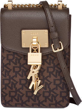 DKNY Elissa Leather Chain Strap Signature Crossbody