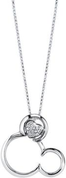 Disney Sterling Silver Mickey Mouse Pendant Necklace with Diamond Accents