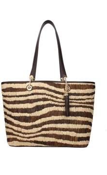 Michael Kors Malibu Straw Large Natural Brown Tote Handbag Purse - BROWNS - STYLE