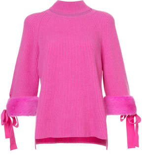 Fendi cut out high neck sweater with faux fur cuffs