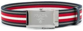 Prada striped woven belt