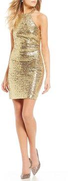 B. Darlin Strappy Back Sequin Sheath Dress