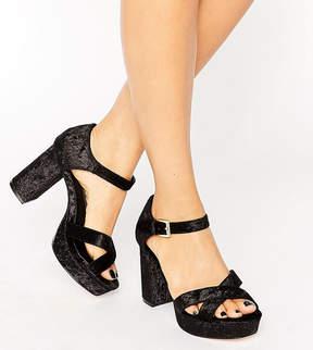 Asos HUMMINGBIRD Wide Fit Velvet Heeled Sandals