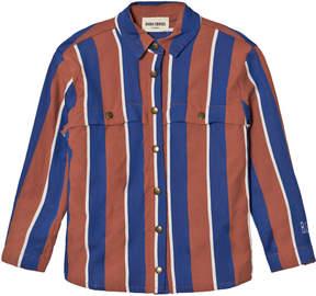 Bobo Choses Rust and Blue Awning Stripes Overshirt