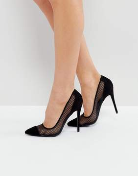 Public Desire Black Mesh Heeled Pumps
