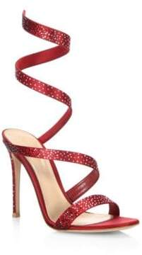 Gianvito Rossi Opera Crystal& Satin Ankle-Wrap Birthday Sandals