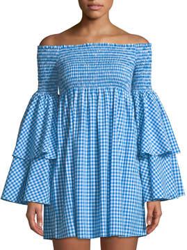 Caroline Constas Appolonia Gingham Off-the-Shoulder Dress