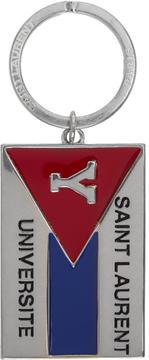 Saint Laurent Silver Flag Keychain