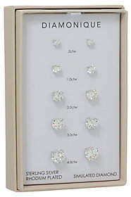 Diamonique Set of 5 Stud Earrings, Sterling or14K Plated, Box