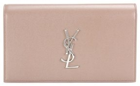 Saint Laurent Classic Monogram leather clutch - BEIGE - STYLE