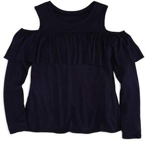 Aqua Girls' Cold-Shoulder Ruffle Top, Big Kid - 100% Exclusive