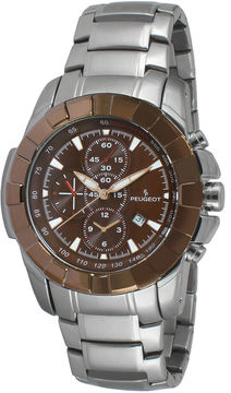 Peugeot Men's Silver Tone Brown Dial Calendar Bracelet Watch 1044BR