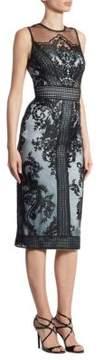 Theia Embroidered Illusion Sheath Dress
