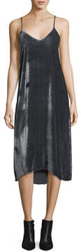 ATM Anthony Thomas Melillo V-Neck Drapey Velvet Camisole Midi Dress