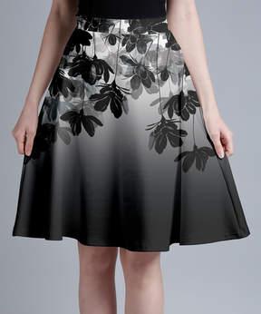 Lily Black & White Floral A-Line Skirt - Women & Plus