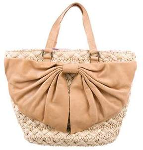 RED Valentino Leather & Straw Tote