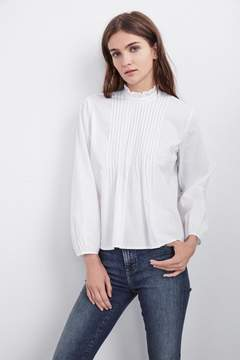 Velvet by Graham & Spencer NABIA COTTON POPLIN PINTUCK TOP