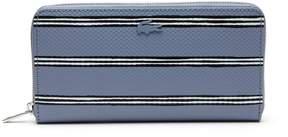 Lacoste Women's Chantaco Striped Print Pique Leather 12 Card Zip Wallet