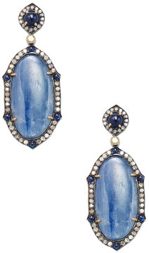 Artisan Women's Silver, 18K Yellow Gold, Kyanite, Blue Sapphire & 1.47 Total Ct. Diamond Drop Earrings