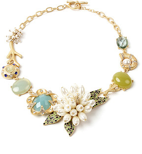 Amrita Singh Goldtone & Austrian Crystals Tuberose Statement Necklace