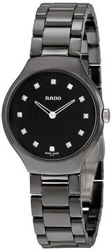 Rado True Thinline Black Dial Black High-tech Ceramic Ladies Watch