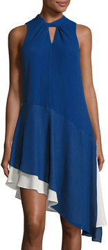 Cynthia Steffe Estella Sleeveless Twist-Neck Asymmetric Dress, Dark Blue