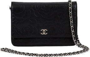 One Kings Lane Vintage Chanel Black Camellia Wallet on Chain