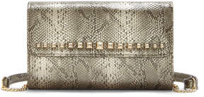 Enzo Angiolini Vintage Gold Studded-Flap Crossbody Bag