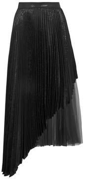 Christopher Kane Asymmetric Pleated Lamé And Tulle Midi Skirt - Black