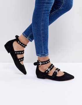 Glamorous Black Triple Buckle Ballet Flat Shoes