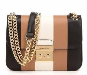 Michael Kors NWT Multi Stripe Sloan Editor Leather Bag Black Ecru Cashew Brown - BLACK/ECRU/CASHEW - STYLE