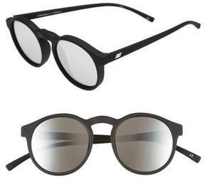 Le Specs Women's Cubanos 47Mm Round Sunglasses - Black Rubber