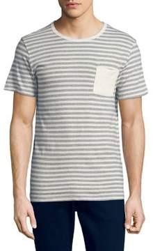 Selected Striped Linen-Blend Tee