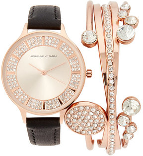 Adrienne Vittadini ADST1704 Rose Gold-Tone & Black Watch & Bracelet Set